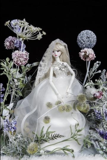 《花草系列》 综合材料 娃娃:40x9x6cm 玻璃箱: 50x50x60cm 2014