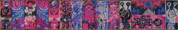 《醒.幻.梦》,剪纸、拼贴、三联画,1985年