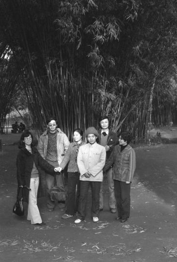1986年12月顾城和谢烨在成都望江公园