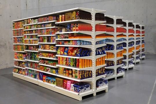 《香格纳超市 》 货架、货品包装  367 x 100 x 20 cm 2007/2005