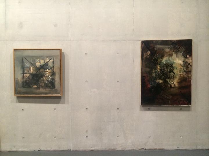 """丁乙1986年左右的作品,画面中开始出现""""×""""和""""+"""",以一种否定的态度站在当时人文热情泛滥的作品的对立面"""