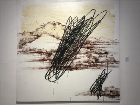 叶永青2012年布面丙烯作品《赭石山水》图片