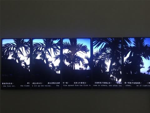 许家维五频录像作品《花东新村》截屏3 屏幕底部的注解是当地语言经过翻译后的文字