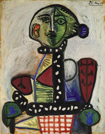"""""""艺术东西""""展览中王中军收藏之毕加索创作于1948年的作品《盘发髻女子坐像》"""