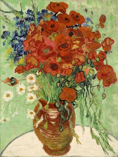 """""""艺术东西""""展览中王中军收藏之梵高1890年创作的作品《雏菊与罂粟花》图片"""