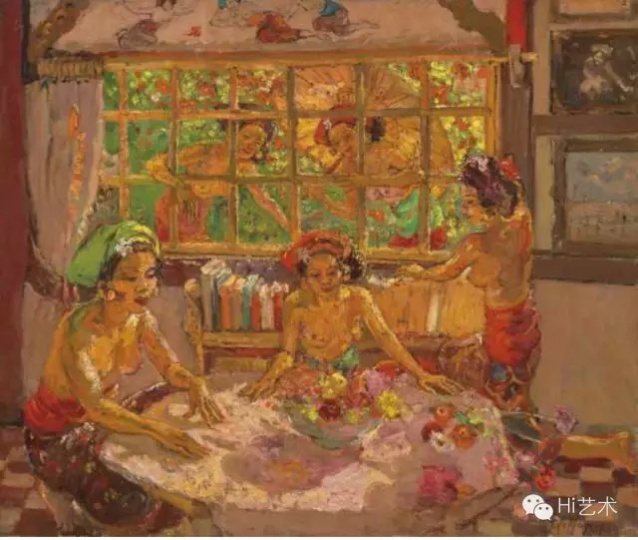 勒迈耶·德·莫赫普赫斯 《屋里和窗边的峇里女子》 73×89cm 布面油画 估价:400-500万港币