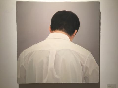 梁浩《开片前8秒的训练》 80×80cm 布面油画 2015
