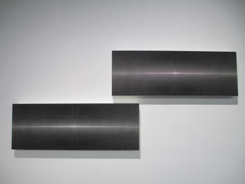 田卫 《既而之七》 49×137.5cm 宣纸水墨 矿物质色 2015、《既而之五》 49×137.5cm 宣纸水墨 矿物质色 水彩 2015