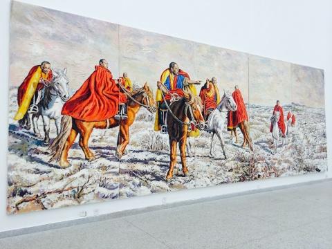 秦琦《次晨》(五联)300×850cm 布面油画 2008-2015