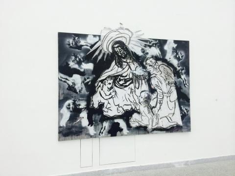 周轶伦《go_dfinder》180×220cm 布面喷漆、纸本墨水 2007-2014