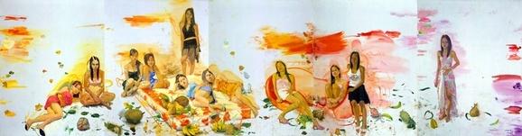 《温床之二》(五联画)260x1000cm 布面油画 2006