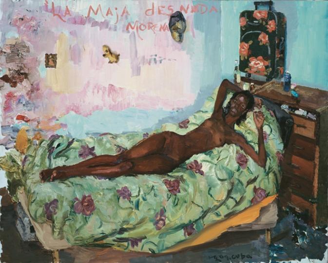 《裸体的黑玛哈》 200x250cm 布面油画 2009 此作中黑人模特的摆出了当年白人皇后的姿势,西班牙曾殖民古巴500年,在他的画面中500年后古巴人爬上了西班牙皇后的床。
