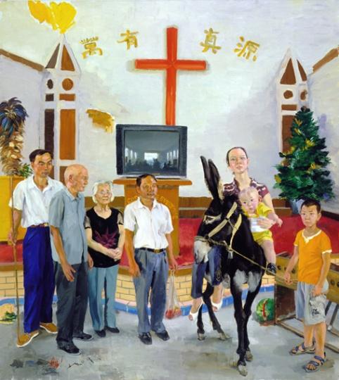 《张氏一家》290x260cm布面油画 2009