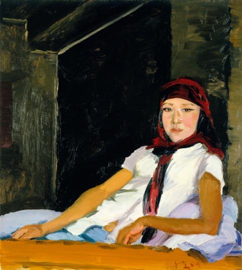 《大妮》100x90cm 布面油画 2009 去年他来的时候大妮还是个姑娘,今年已为人妇,带着穆斯林妇女婚后必须才有的头纱。