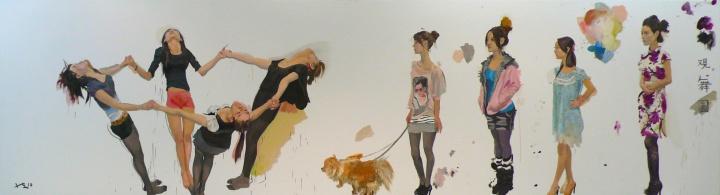 《观舞图》160x660cm 纸上丙烯 2010