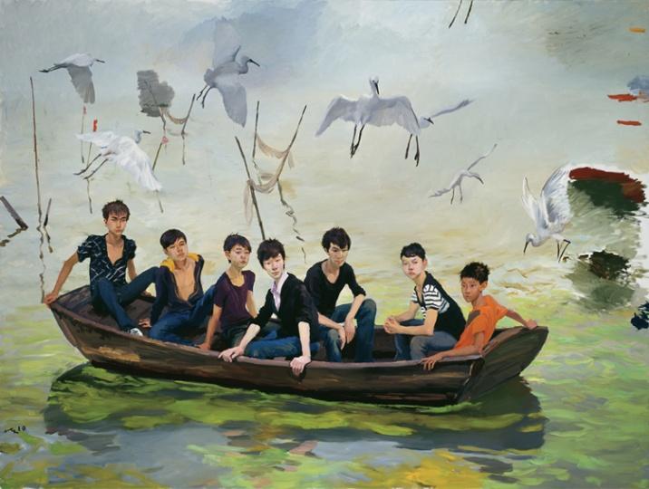 《入太湖》 300x400cm 布面油画 2010