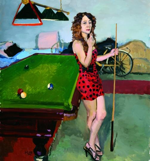 《小豆在台球厅闲着》150x140cm 布面油画 2010