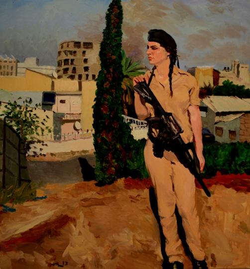 《在以色列和巴基斯坦之间no.19》150x140cm 布面油画 2013 女兵是刘小东在他住处的门口画完的