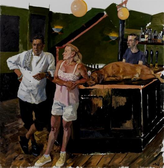 《绿饭馆》 220x225cm 布面油画 2013