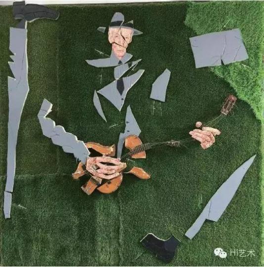郑维 《弹琴的人之一:草地上的巴勒斯》 230×230cm 综合材料 2015