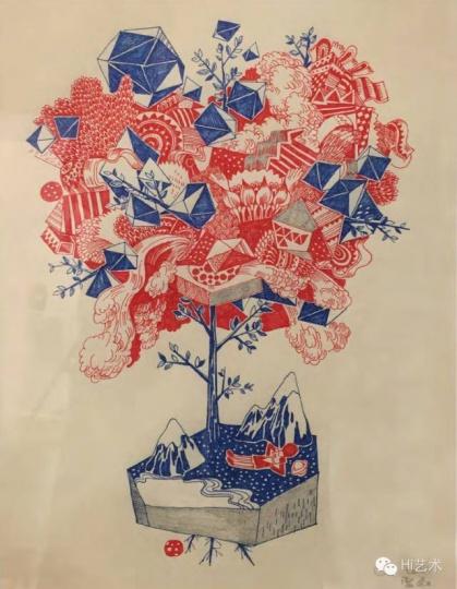 雷磊 《树》 42×32cm 红蓝圆珠笔、画框上马克笔 2014