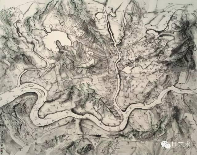 邱志杰 《远近亲疏图》 150×180cm 纸上水墨 2014