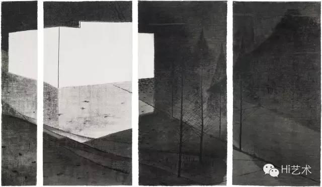 沈勤 《黑水墨村No.1》 137×27cm、137×65cm×3 纸本水墨 2013