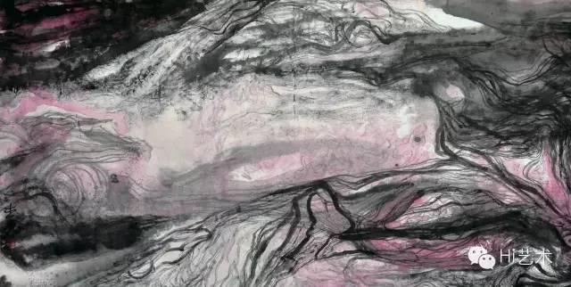 沈爱其 《慢行足迹》168×361cm 水墨设色纸本 2012
