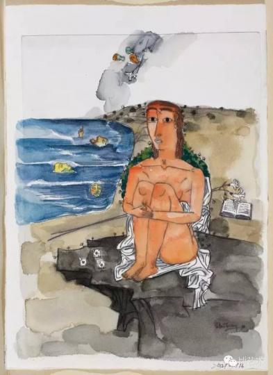 张晓刚 《遗梦集系列之五》1989年线稿 29.5×20.7cm 纸本水彩 2012