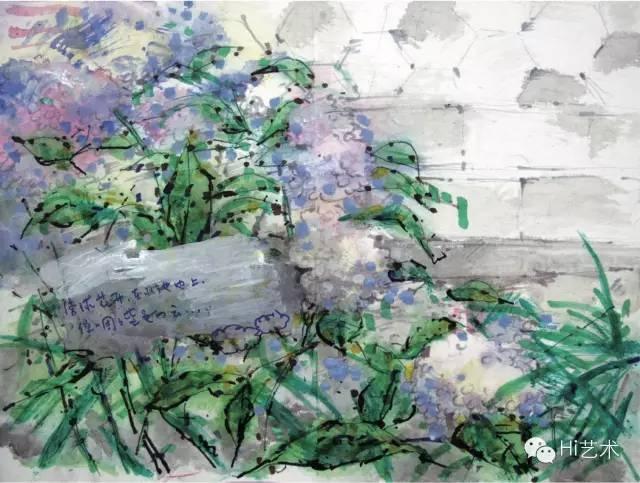 叶永青 《种花集》(局部) 665×42cm 宣纸综合材料 2015