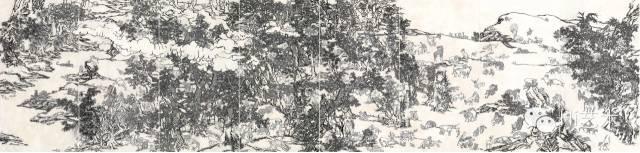 杨诘苍 《十一日谈系列:白描芥子园》 273×143cm×8条幅 墨、矿物彩、绢本 ( 裱于布面 ) 2009-2014