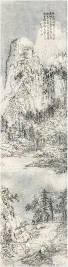 王天德 《后山图·回 No15-MGSNT003》 252.5×66.2cm 皮纸、墨、焰 2015