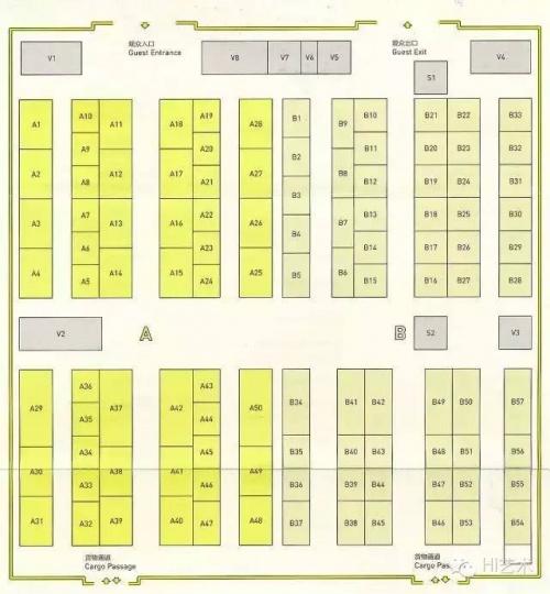 CIGE 2015 平面图(左侧深黄色为A区、右侧浅黄色为B区)