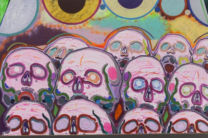 《十二个骷髅》 200×300cm 布面丙烯、喷漆 2015