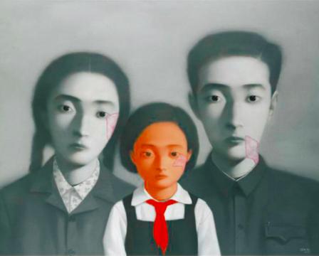 张晓刚 《大家庭系列》159.4×199cm  布面油画 2002 成交价:1264.75万港元