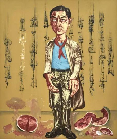 Lot1073 曾梵志《自画像》 200×169cm布面油画 1996 估价:2500至3500万港元