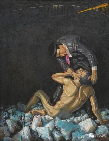 Lot1087 王兴伟《伤害》 210×170cm布面油画 1994 估价:250至350万港元