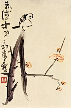 Lot959 丁衍庸 《梅雀图》 46×30cm 木板油画 1967 估价: 60-80万