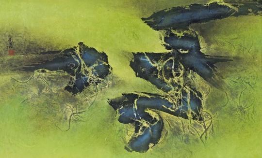 Lot943 刘国松 《春的传说》 58×94.5cm 纸本综合材料 1966 估价: 48-58万