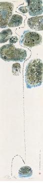 Lot940 陈其宽 《水之就下》 92.7×22.7cm 纸本彩墨 立轴 1953 估价: 20-28万