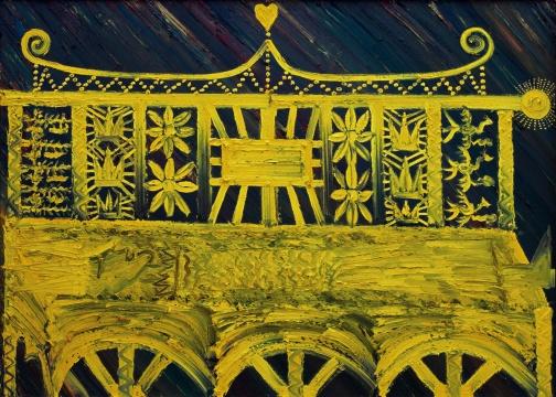 Lot906 欧阳春 《王者殉道》 180×250cm 布面油画 2006 估价: 25-32万