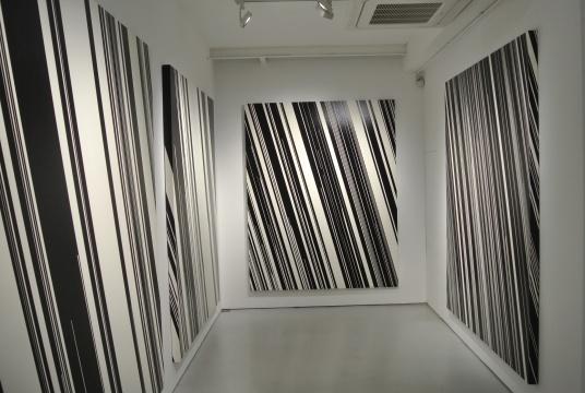 《Direction》系列 将画布倾倒15度创作,垂直画布两端的线条体现大自然重力的物理现象