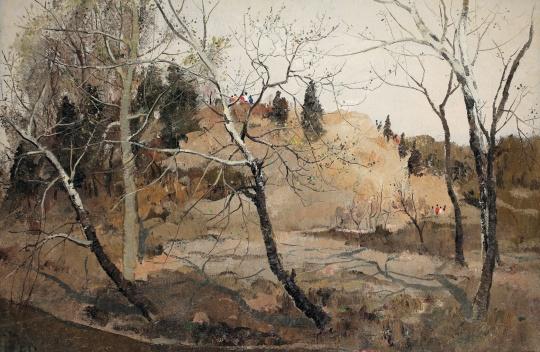 吴冠中 《紫竹院的早春》 60x81cm 布面油画 1973 成交价:2472.5万元
