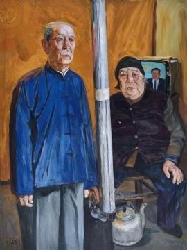 刘小东《白头到老》 150x120cm 布面油画 1991 成交价:1035万元