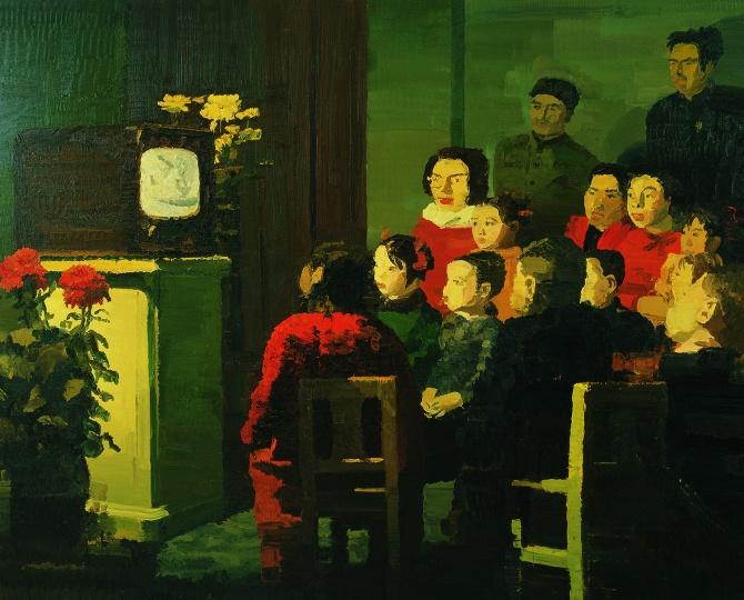 仇晓飞 《看电视》 200x250cm 布面油画 2004