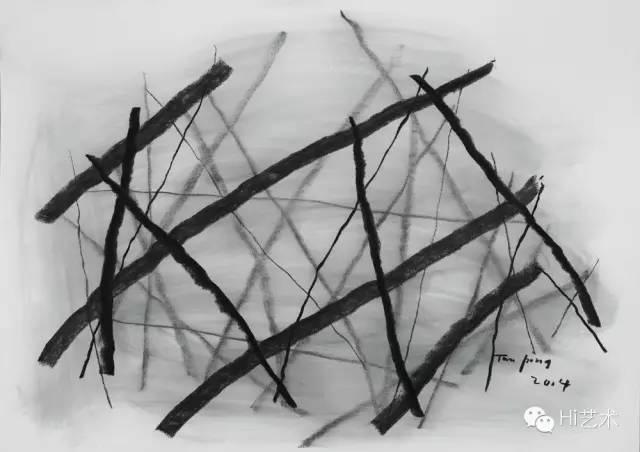 谭平 《素描 No. 1》78x109cm 炭笔 2015