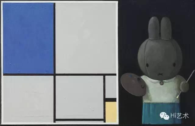 刘野 《米菲和蒙德里安 No.2》 25×40cm 布面丙烯 2013