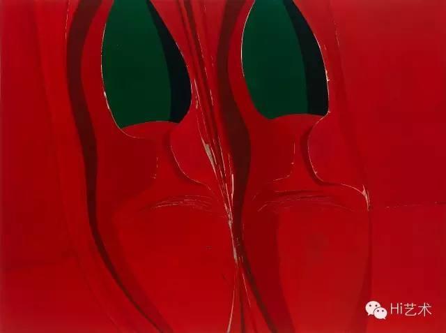 冷广敏 《红色的涟漪》 150×200cm 布面丙烯综合材料 2015