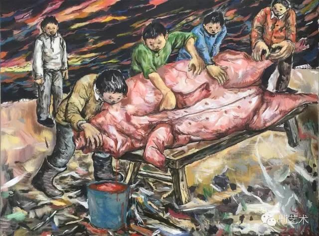 李继开《杀猪》40x49.5cm 布面丙烯 2015