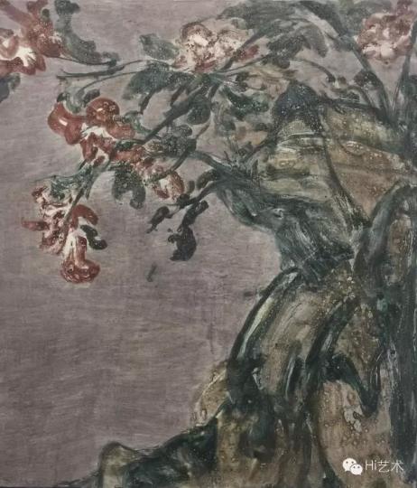 花石图 80x70cm 布面综合 2015